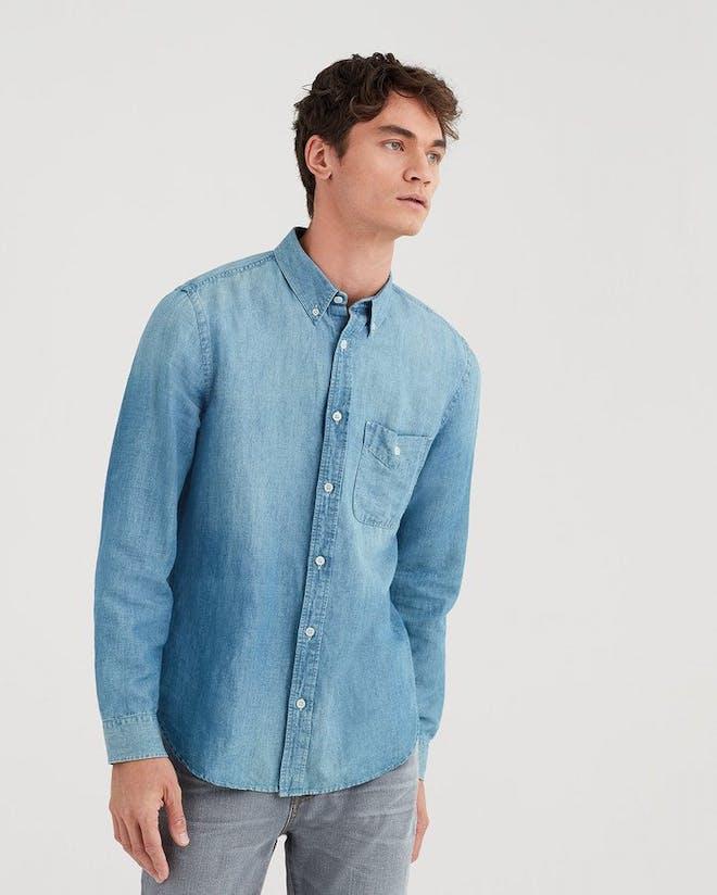 Light wash denim shirt Mens