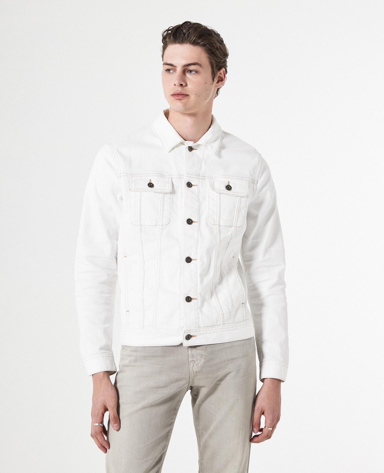 Dart White Mens Denim Jacket