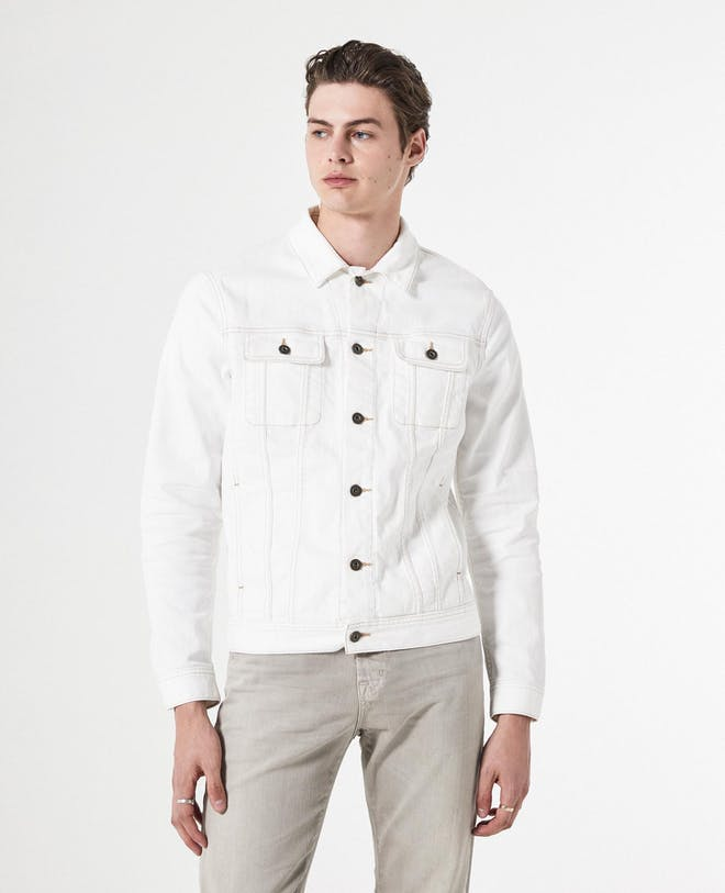 Dart White Mens Denim Jacket