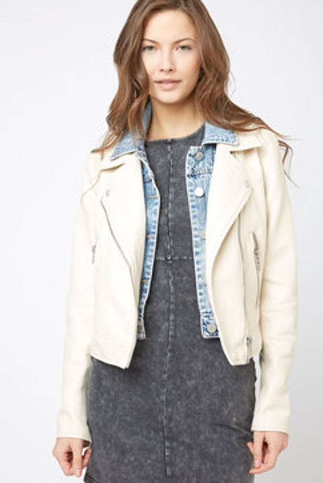 White denim moto jacket