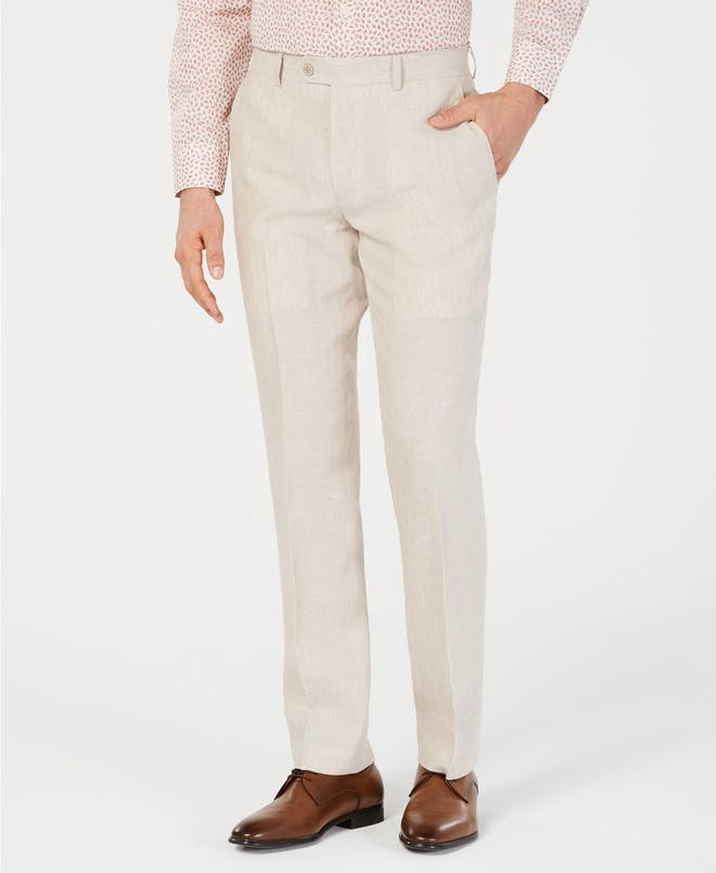 Men's slim fit linen khaki pants