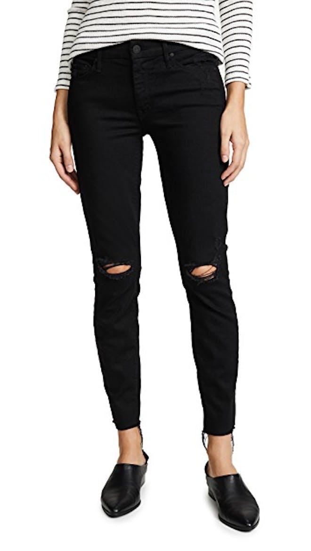Distressed look black jeans