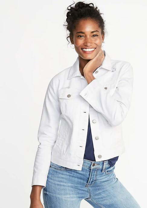 Distressed white jean jacket for women