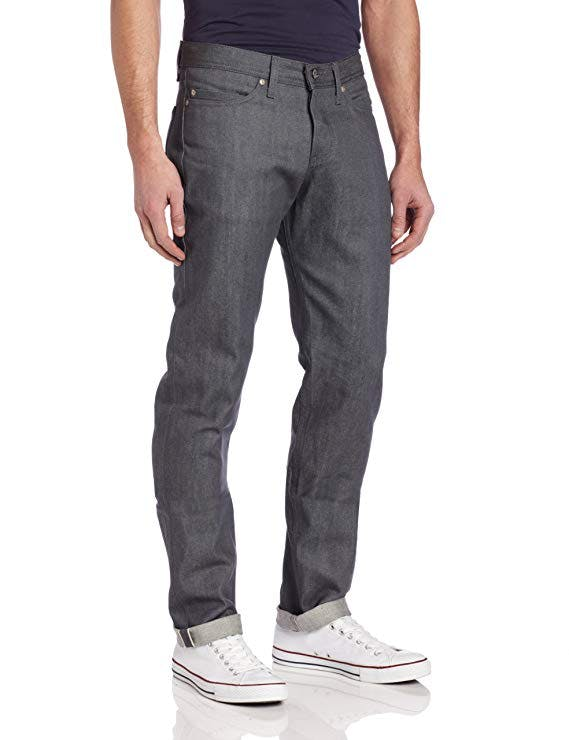 WeirdGuy Low-Rise Tapered-Leg Jean In Grey Selvedge