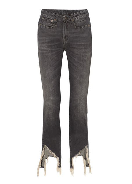 Frayed midrise flared jeans
