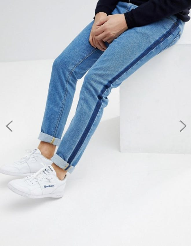 slim jeans in light wash blue with aztec stripe