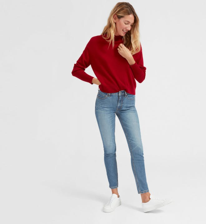 Mid Rise Skinny Blue Jeans