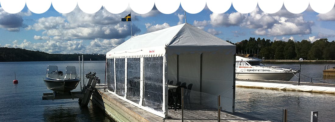 Detta partytält kan du hyra av Rent a Tent Uppsala